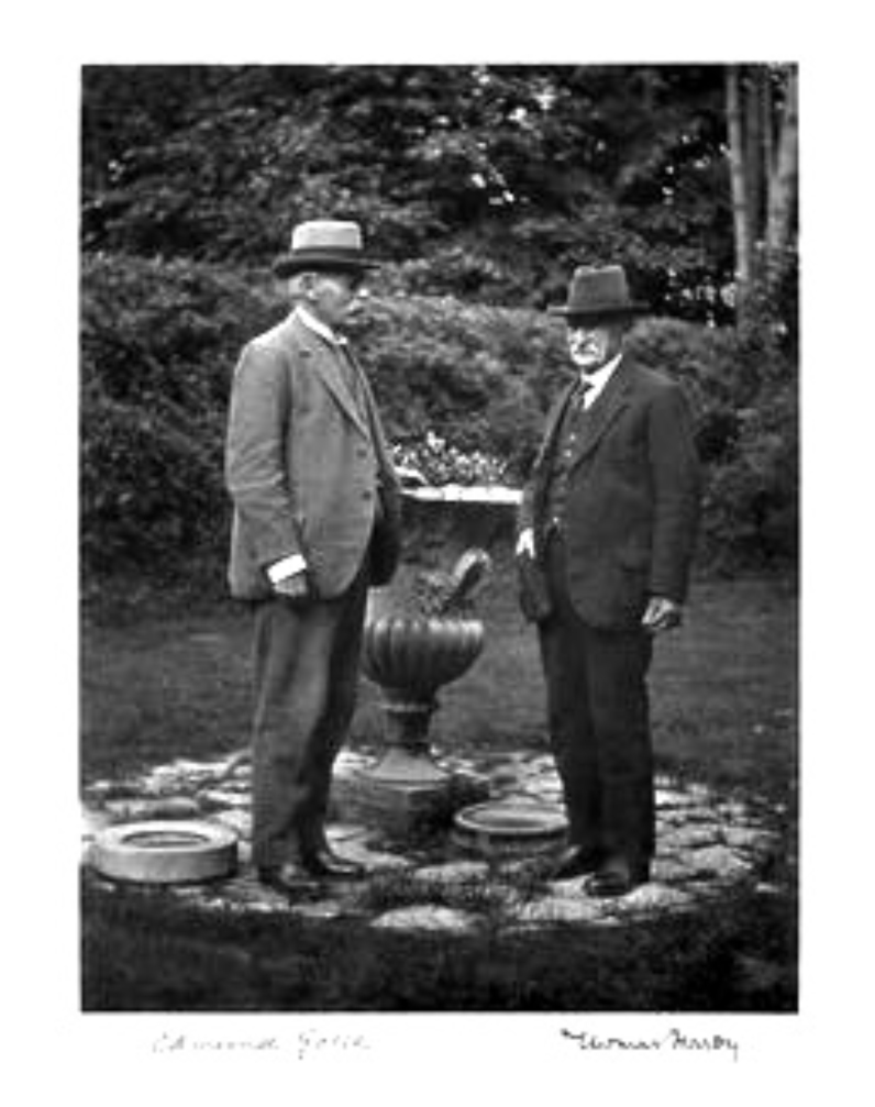 Sir Edmund William Gosse (left) age 78, with Thomas Hardy